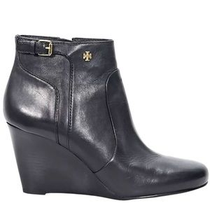 Tory Burch Milan Leather Wedge Ankle Booties